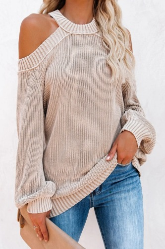 Roselypink Cold Shoulder Beige Sweater