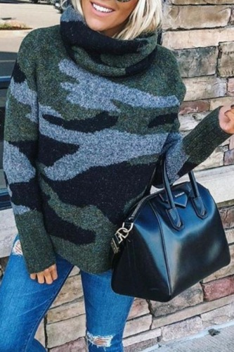 Roselypink Turtleneck Camo Print Army Green Sweater