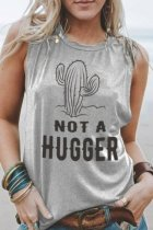 Dokifans Cactus Not A Hugger Print Tank Top (2 Colors)