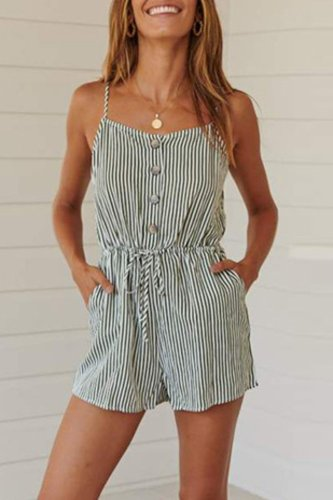 Dokifans Striped Buttons Design Green One-piece Romper