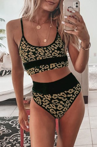 Dokifans Leopard High Waisted Bikini Set
