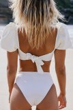 Dokifans Knot Design Puff Sleeves Tankini Bikini Set (2 Colors)