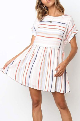 Dokifans Striped Ruffle Design Dress