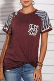 Dokifans Patchwork Leopard Striped Wine Red T-shirt
