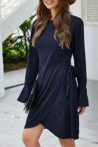 Dokifans Ruffle Knot Design Navy Blue Midi Dress