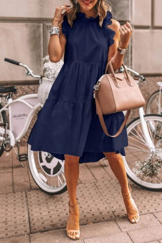 Dokifans Flounce Design Dark Blue Knee Length Dress