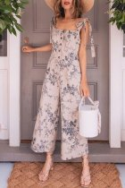 Dokifans Vintage Printed Cotton One-piece Jumpsuit(Nonelastic)