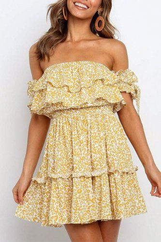 Dokifans Dew Shoulder Flounce Floral Print Yellow Mini Dress