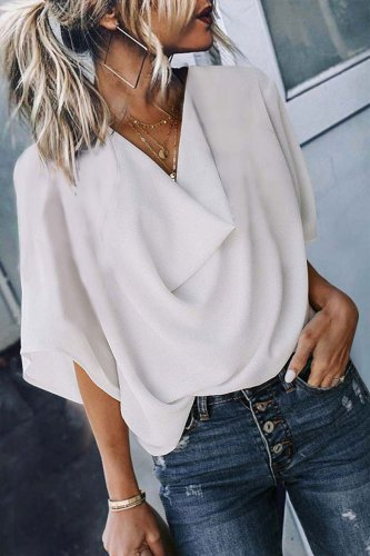 Dokifans Drape Design White Blouse
