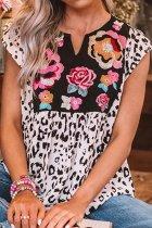 Dokifans Floral Leopard Print Patchwork Blouse (3 Colors)
