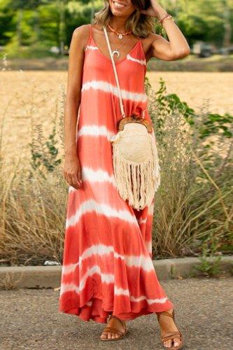 Dokifans Tie-dye Print Watermelon Red Maxi Dress