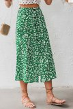 Dokifans Button Design Floral Print Green Skirt