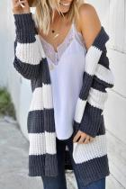 Dokifans Casual Hooded Collar Striped Deep Grey Cardigan Sweaters