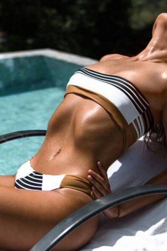 Dokifans Bandeau Striped Coffee Bikini Set