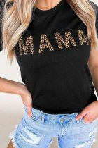 Dokifans Letter MAMA Print Black T-shirt