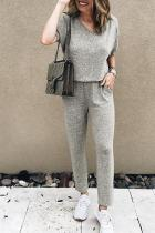 Dokifans Casual Loose Grey Blending One-piece Jumpsuit