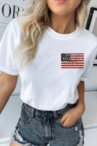 Dokifans Flag Print White T-shirt