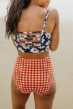 Dokifans Floral Print Grid Black Tankini Bikini Set