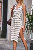Dokifans Sleeveless Striped White Midi Dress