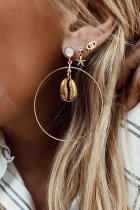 Dokifans Hollow-out Shell Gold Earring