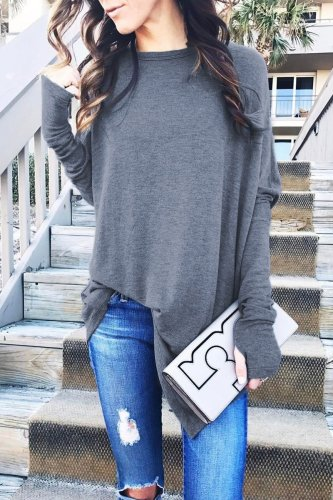 Dokifans Basic Loose Grey T-shirt