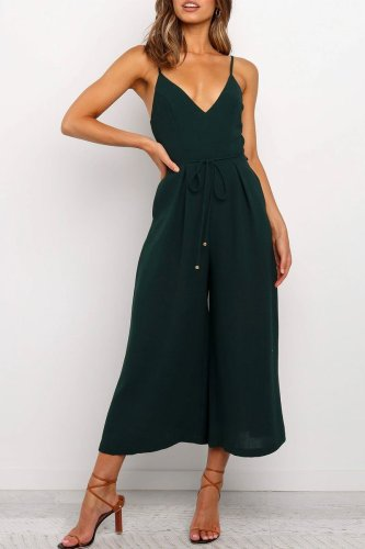 Dokifans Loose Green One-piece Jumpsuit