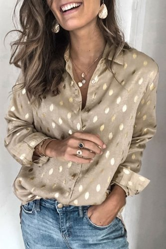 Dokifans Button Design Dot Print Gold Shirt