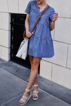 Dokifans O Neck Blue Casual Mini Dress