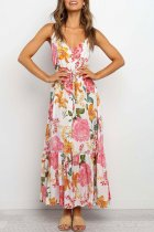 Dokifans Lace-up Floral Print Red Maxi Dress