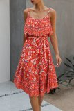 Dokifans Lace-up Boho Floral Print Red Midi Dress