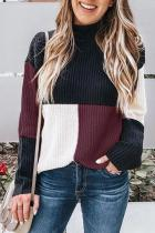 Dokifans Casual Long Sleeves Patchwork Wine Red Sweaters