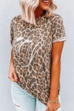 Dokifans Leopard Print Loose Yellow T-shirt