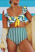 Dokifans Striped Printed Green Two-piece Swimsuit