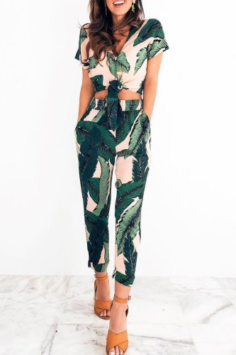 Dokifans High Waist Printed Two-piece Pants Set