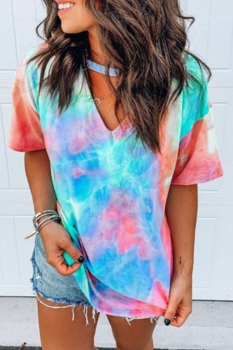 Dokifans Tie-dye Print Cutout Design Loose T-shirt (4 Colors)