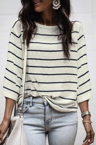 Dokifans Striped Loose T-shirt
