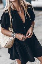 Dokifans Buttons Design Black Mini Dress
