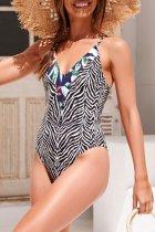 Dokifans Striped Black Print One-piece Swimsuit