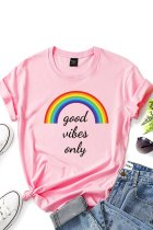 Dokifans Letter Good Vibes Only Print Pink T-shirt