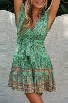 Dokifans Ruffle Floral Print Green Mini Dress