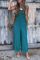 Dokifans Spaghetti Straps Blue Loose One-piece Jumpsuit(Nonelastic)