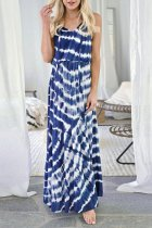 Dokifans Tie-dye Loose Blue Maxi Dress