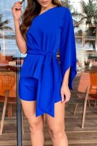 Dokifans One Shoulder Lace-up Deep Blue One-piece Romper