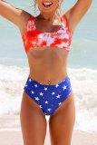Dokifans Tie-dye Star Print Red Tankini Bikini Set