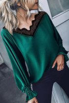 Dokifans Lace Patchwork Green Blouse