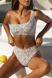 Dokifans One Shoulder Floral Print Blue Bikini Set