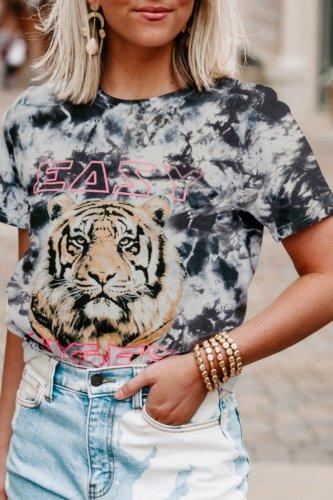 Dokifans Tie-dye Tiger Print Black T-shirt