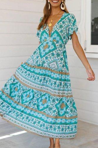 Dokifans Flounce Design Boho Green Maxi Dress