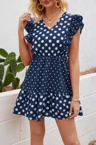 Dokifans Dot Print Flounce Design Navy Blue Mini Dress