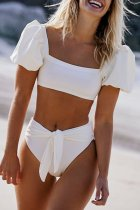 Dokifans Knot Design Puff Sleeves Tankini Bikini Set (2 Colors)